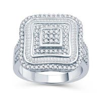 Sterling Silver 1ct TDW Diamond Square Ring