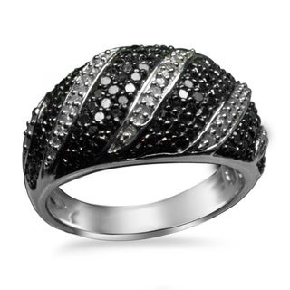 Sterling Silver 1ct TDW Black and White Diamond Band Ring