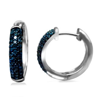 Sterling Silver 1/3ct TDW Blue Diamond Hoop Earrings