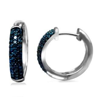 Sterling Silver 1/3ct TDW Blue Diamond Hoop Earrings (I2-I3)