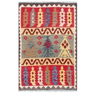 Herat Oriental Afghan Hand-woven Tribal Wool Kilim (4'1 x 5'11)