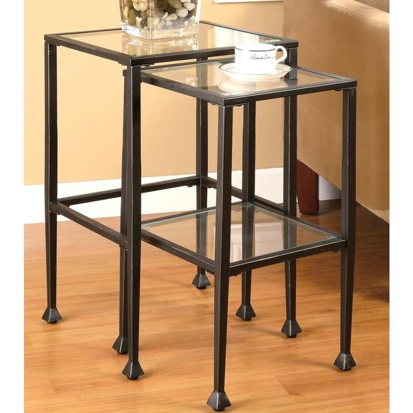 Glass and Metal 2-piece Nesting Table Set