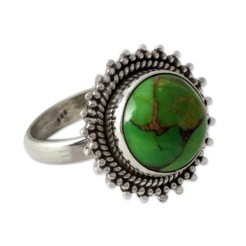 NOVICA Handmade Round Green Reconstituted Turquoise 925 Sterling Silver Women's Ring (India)