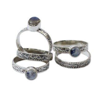 Imagination Round Blue Labradorite and Moonstone Gemstones on 925 Sterling Silver (Set of 5) Womens