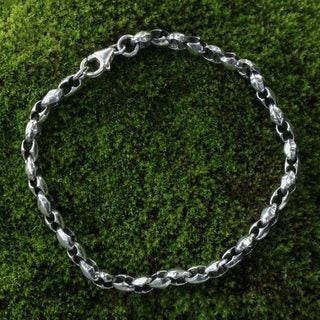 Sterling Silver 'Life Flourishes' Chain Bracelet (Indonesia)