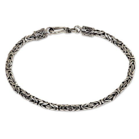 NOVICA Handmade Sterling Silver Byzantine Style Snake Chain Bracelet (Indonesia)