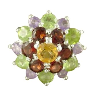 Sterling Silver 'Floral Bouquet' Multi-gemstone Ring (India)