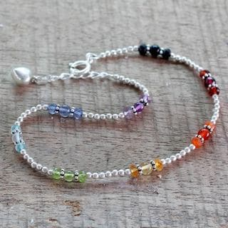 Handmade Sterling Silver 'Harmonious Energy' Multi-gemstone Anklet (India)