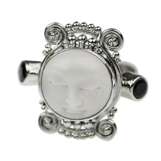 Handmade Silver Cow Bone 'Moon Dream' Garnet Ring (Indonesia)