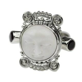Handmade Silver Cow Bone 'Moon Dream' Garnet Ring (Indonesia)