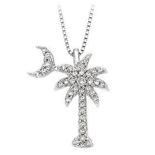 Link to 14k White Gold 1/5ct TDW Diamond Palm Tree Pendant Similar Items in Necklaces
