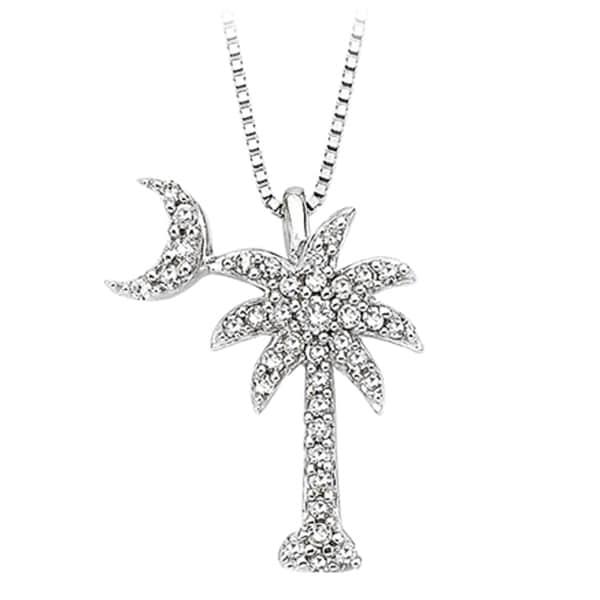Shop 14k white gold 15ct tdw diamond palm tree pendant free 14k white gold 15ct tdw diamond palm tree pendant aloadofball Images