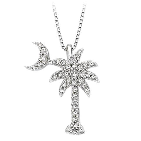 14k White Gold 1/5ct TDW Diamond Palm Tree Pendant