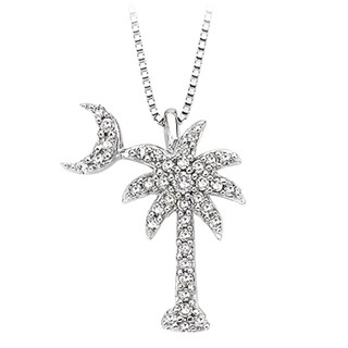 14k White Gold 1/5ct TDW Diamond Palm Tree Pendant