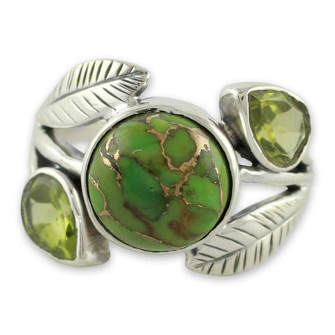 Handmade Sterling Silver Green Ivy Turquoise Peridot Cocktail-Cluster Ring (India)