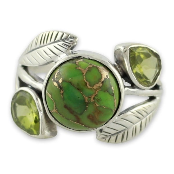 Handmade Sterling Silver Green Ivy Turquoise Peridot Cocktail-Cluster Ring (India). Opens flyout.