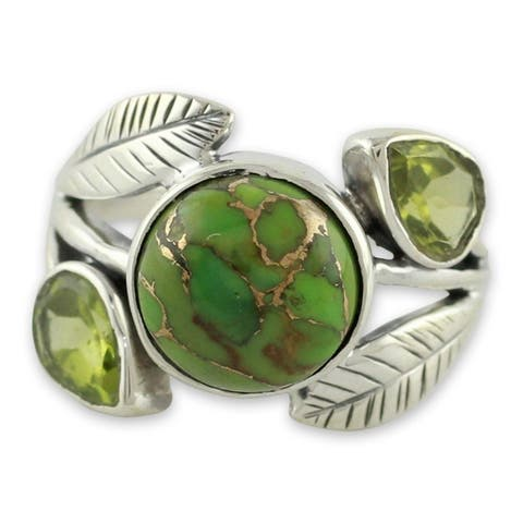 NOVICA Handmade Sterling Silver Green Ivy Turquoise Peridot Cocktail-Cluster Ring (India)