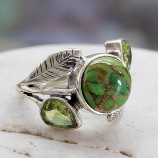 Handcrafted Sterling Silver Green Ivy Turquoise Peridot Cocktail-Cluster Style Ring (India)