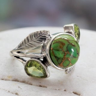 Handmade Sterling Silver Green Ivy Turquoise Peridot Cocktail-Cluster Style Ring (India) (3 options available)