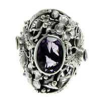 Handmade Sterling Silver 'Butterfly' Amethyst Citrine Ring (Indonesia) - Purple