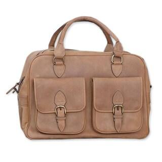 Handmade Leather Brass 'World Traveler' Travel Bag (Mexico)