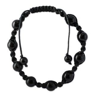 Handmade 'Blissful Protection' Onyx Bracelet (India)