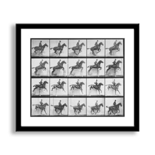 Gallery Direct Eadweard Muybridge's 'Man and Horse Jumping a Fence' Framed Paper Art