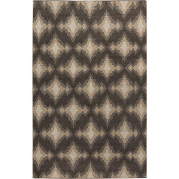 Hand-Knotted Amiya Geometric Pattern Wool Area Rug (5'6 x 8'6) - 5'6 x 8'6