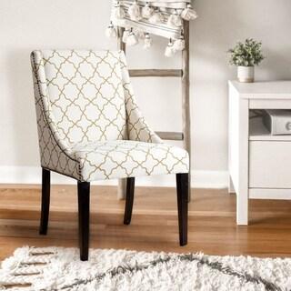 Abbyson Sara Gold Lattice Swoop Dining Chair