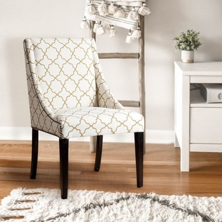 Abbyson Sara Gold Lattice Swoop Dining Chair