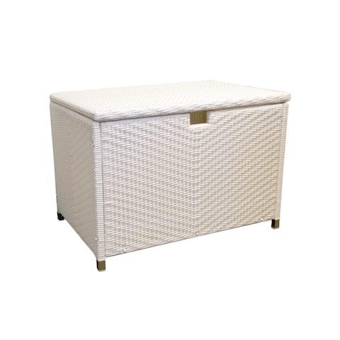 Tortuga Outdoor White Wicker Medium Storage Box