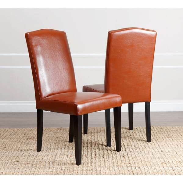 Admirable Shop Abbyson Living Daniel Red Leather Dining Chair Set Of Ibusinesslaw Wood Chair Design Ideas Ibusinesslaworg