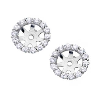 14k White Gold 4/5ct TDW Diamond Stud Earring Jackets (I-J, I2-I3)
