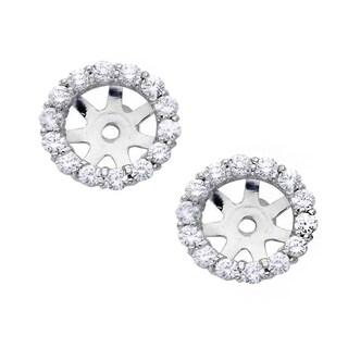 14k White Gold 4/5ct TDW Diamond Stud Earring Jackets (I-J, I2-I3)