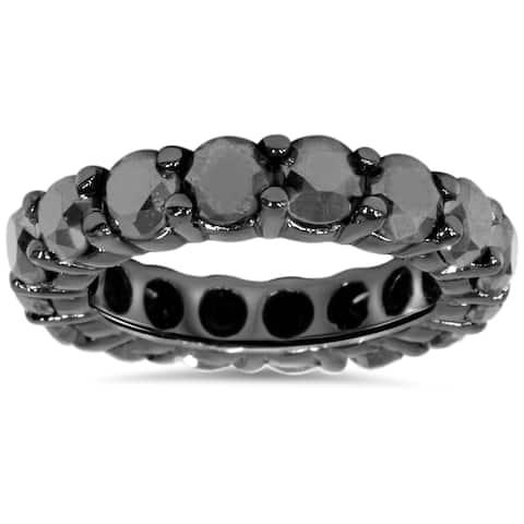 14k Black Gold 5ct TDW Black Diamond Eternity Ring