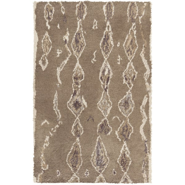 Hand-Knotted Terrance Abstrat Pattern Wool Area Rug - 5' x 8'