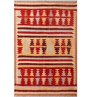 Herat Oriental Afghan Hand-woven Tribal Kilim Red/ Ivory Wool Rug (4'1 x 6')
