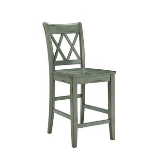 Signature Design by Ashley Mestler 24-inch Antique Blue Bar Stool (Set of 2)