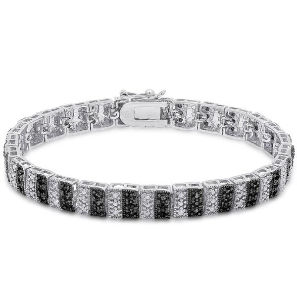 Finesque Sterling Silver 1ct TDW Black and White Diamond Stripe Bracelet