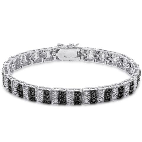 Finesque Sterling Silver 1ct TDW Black and White Diamond Stripe Bracelet