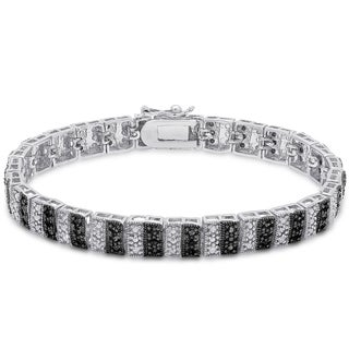Finesque Sterling Silver 1ct TDW Black and White Diamond Stripe Bracelet (I-J, I2-I3)
