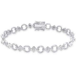 Finesque Sterling Silver 1/5ct TDW Diamond Circle Link Bracelet