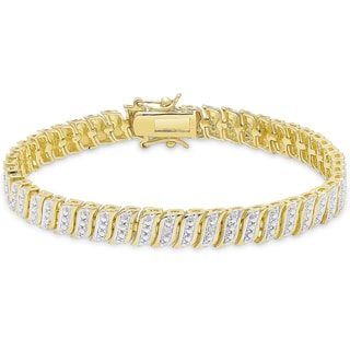 Finesque Overlay Diamond Accent 'S' Link Bracelet