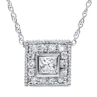 14k White Gold 1/3ct TDW Diamond Square Vintage Style Pendant