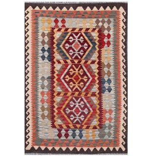 Herat Oriental Afghan Hand-woven Tribal Kilim Burgundy/ Red Wool Rug (3'11 x 5'9)