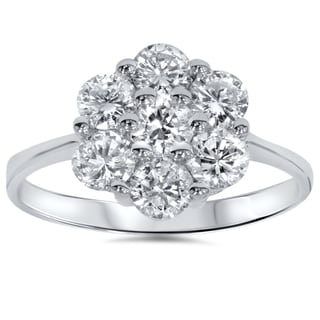 14k White Gold 1 1/2ct TDW Cluster Diamond Ring (I-J, I2-I3)