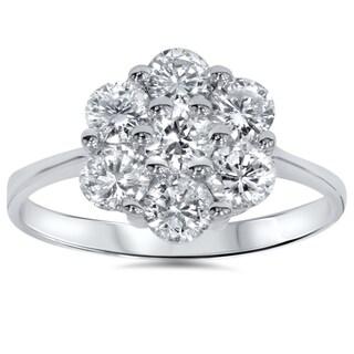 14k White Gold 1 1/2ct TDW Cluster Diamond Ring