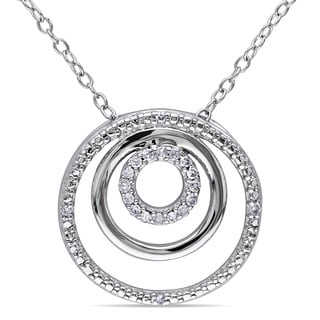 Miadora Sterling Silver 1/10ct TDW Diamond Circle Necklace