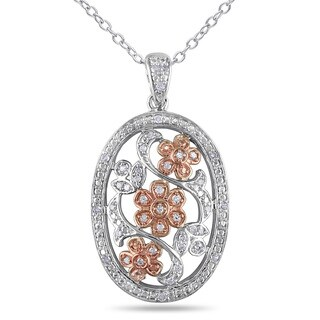 Miadora Two-tone Silver 1/5ct TDW Diamond Oval Flower Necklace