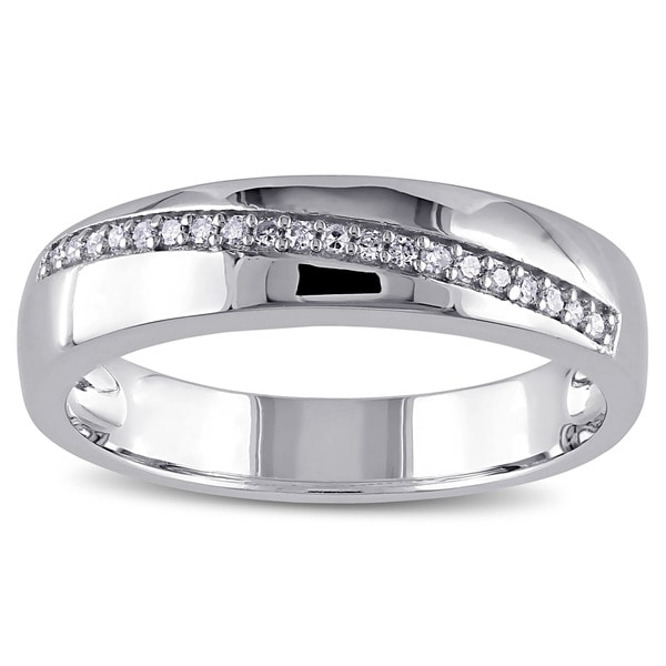 Miadora Men's Sterling Silver 1/10ct TDW Diamond Wedding Band